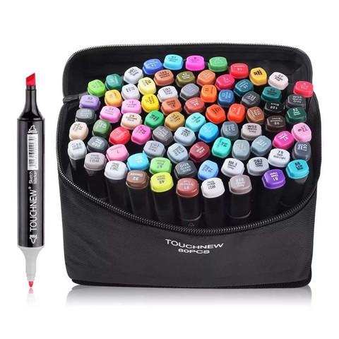 Набор двухсторонних маркеров для скетчинга в чехле 80 штук (цветов)