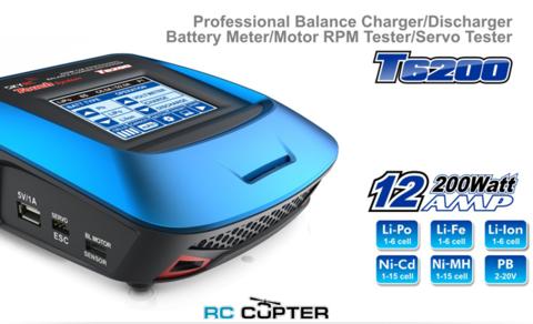 Зарядное устройство SKYRC T6200 200 Вт 1-6S +RPM тестер +сервотестер