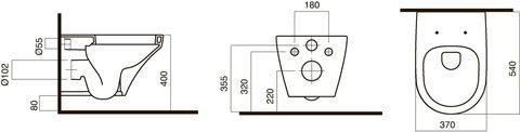 Унитаз подвесной AM-PM Inspire с крышкой-сиденьем м/л