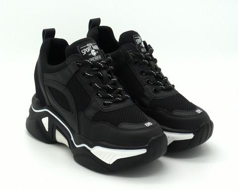 Черные текстильные кроссовки со вставками из искуственной кожи