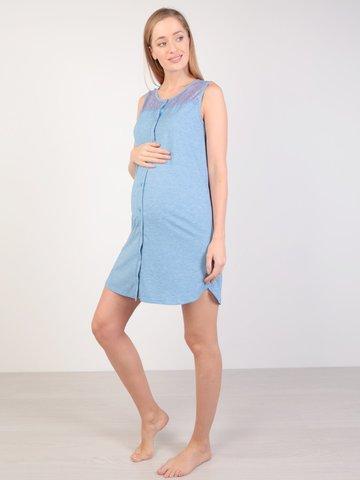 Евромама. Сорочка-халат на пуговках для беременных и кормящих, темно-голубой
