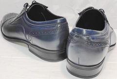 Стильные туфли мужские кожаные классические Ikoc 3805-4 Ash Blue Leather.