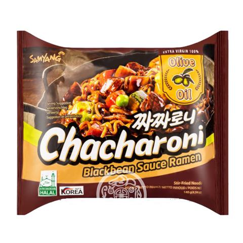 Лапша б/п Chacharoni с соусом из черных соевых бобов 140г SAMYANG Южная Корея