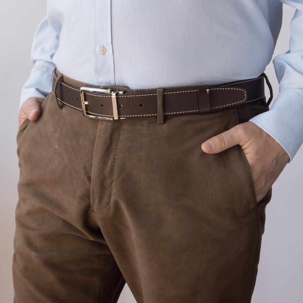 Ремень мужской из натуральной кожи теленка темно-коричневого цвета ширина 35мм