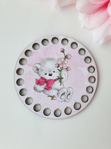 Круг диаметр 10 см, рисунок Мишка