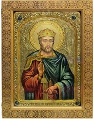 Большая Живописная икона Святой Благоверный князь Вячеслав Чешский 42х29см на кипарисе в березовом киоте