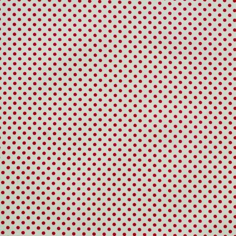 Ткань хлопковая малиновый горошек 3 мм на белом