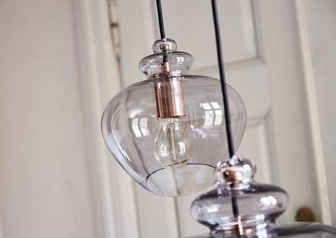 Лампа подвесная Grace, ø30 см, дымчатое стекло, черный цоколь