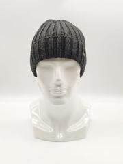 Мужская трикотажная шапка по голове, с отворотом, крупная вязка, серая
