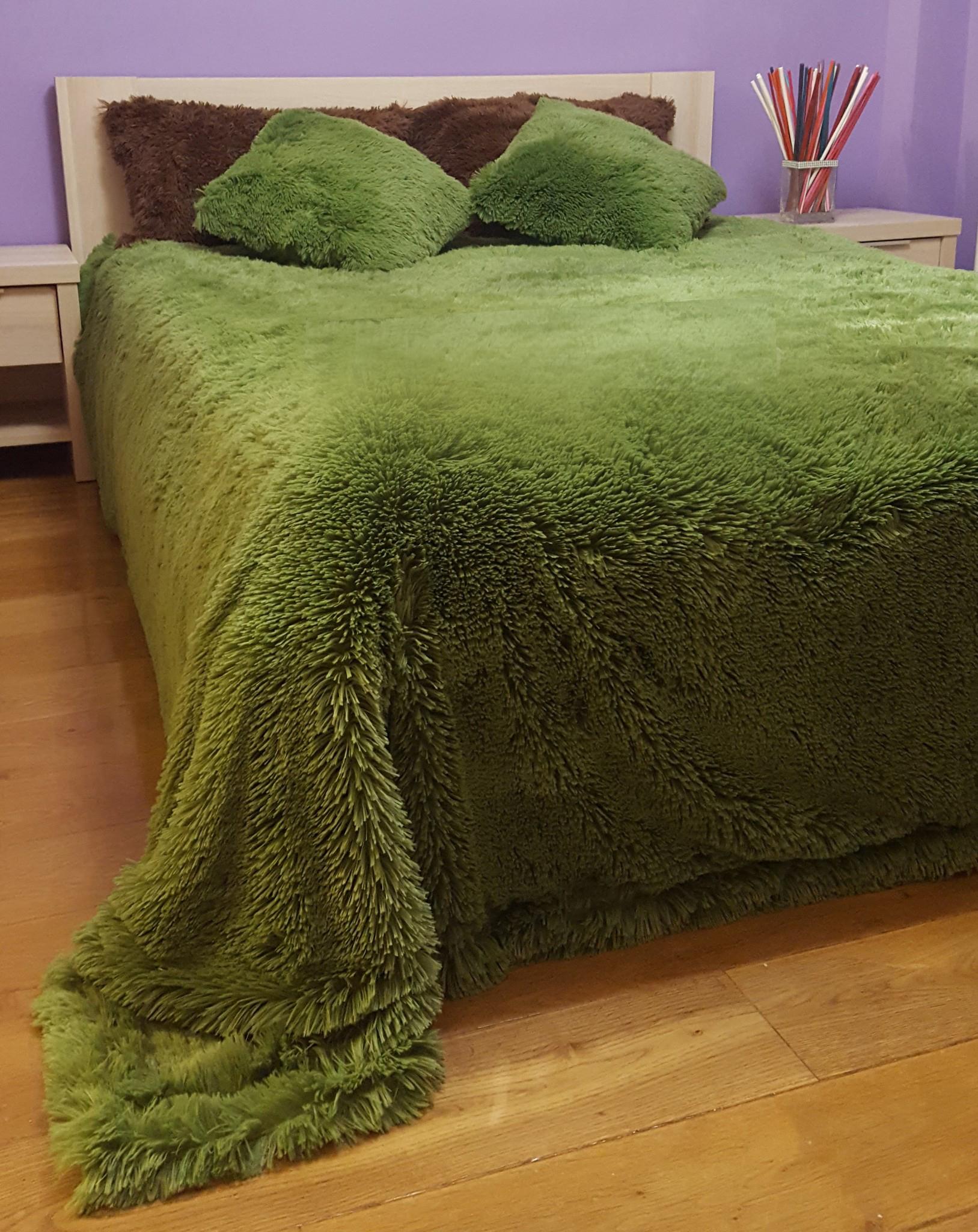 Плед с длинным ворсом, зеленый