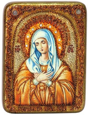 Инкрустированная икона Образ Божией Матери Умиление Серафимо-Дивеевская 20х15см на натуральном дереве в подарочной коробке