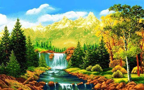 Алмазная Мозаика 50x65 Водопад и горы на солнце