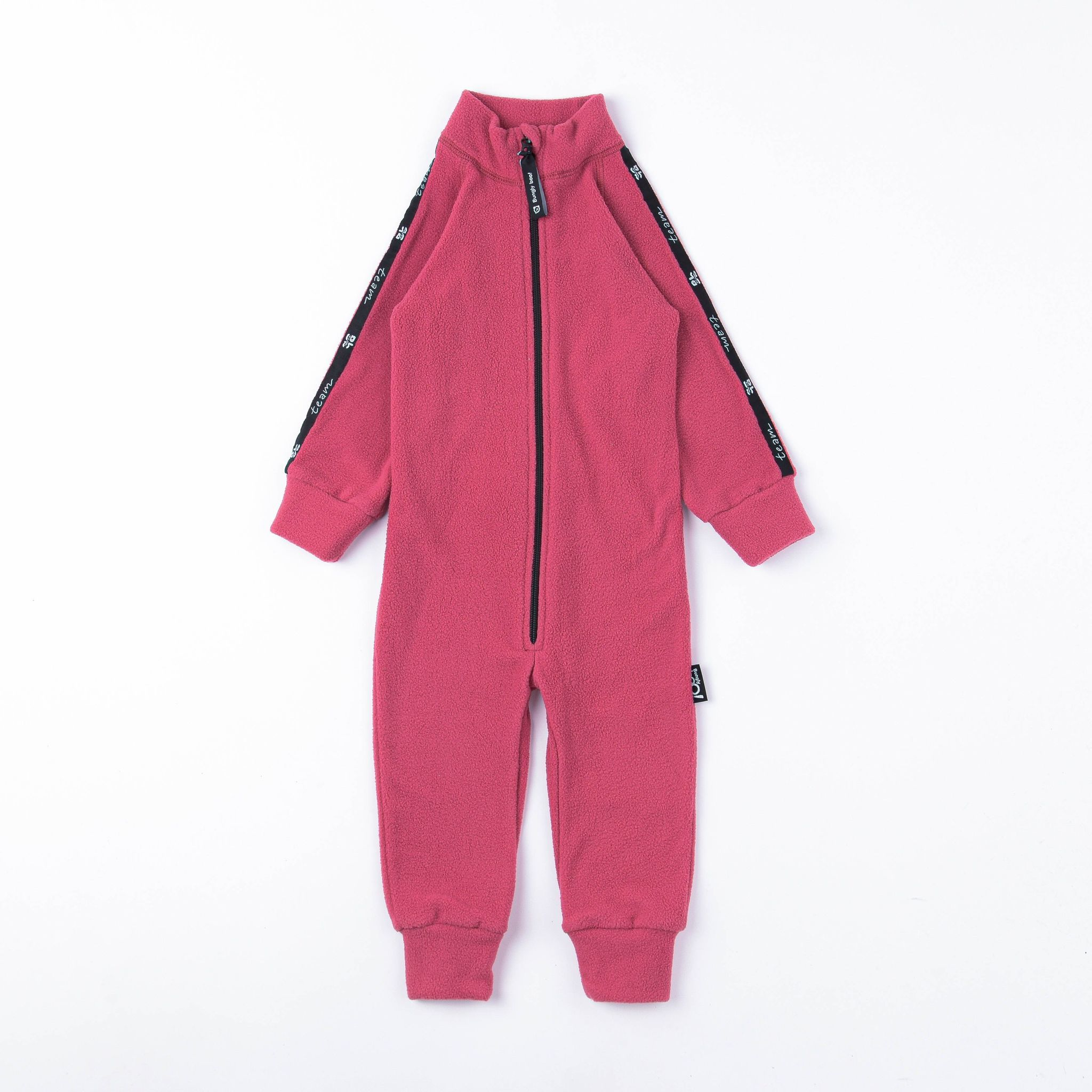 Thermal fleece jumpsuit with stripes - Raspberry