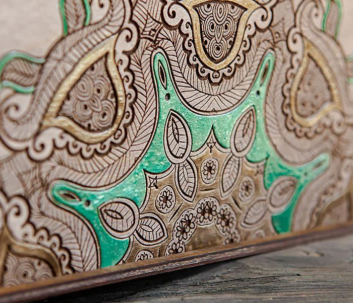 BOX234-3 Подарочная коробка «Мандала» с ручной росписью (25*25*12 см) фото 02