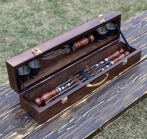 """Набор шампуров в деревянной коробке """"Кабанчик"""" №6"""