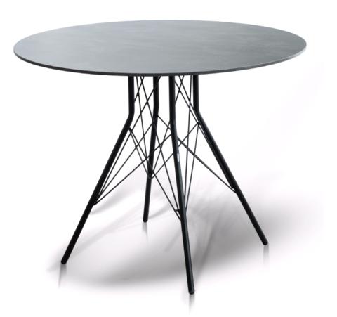 «Конте» Стол интерьерный Ø90см, столешница HPL, цвет Серый гранит, стальное подстолье