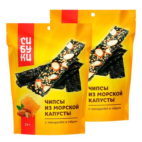 Чипсы из морской капусты Сибуки с миндалём и мёдом 25 гр