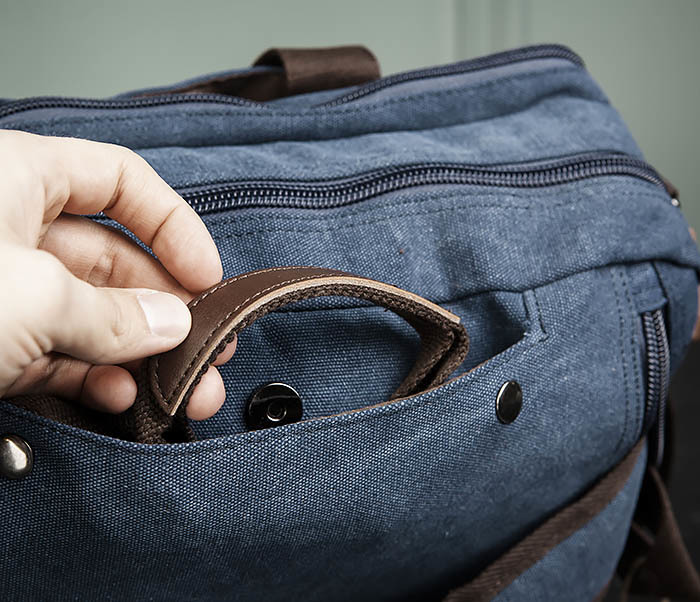 BAG475-3 Мужской городской рюкзак трансформер синего цвета фото 08