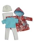 Комплект с плащем - Брусника. Одежда для кукол, пупсов и мягких игрушек.