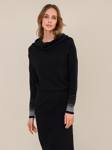 Женское платье черного цвета из шерсти и вискозы - фото 3