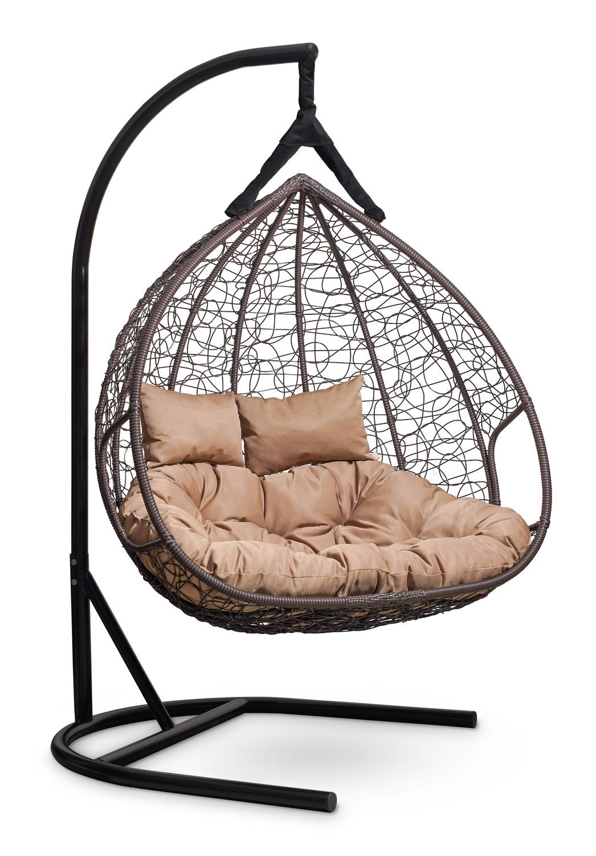 Подвесные кресла Подвесное кресло для двоих FISHT коричневое podvesnoe-kreslo-kokon-fisht-korichnevoe-karkas-beige.jpg