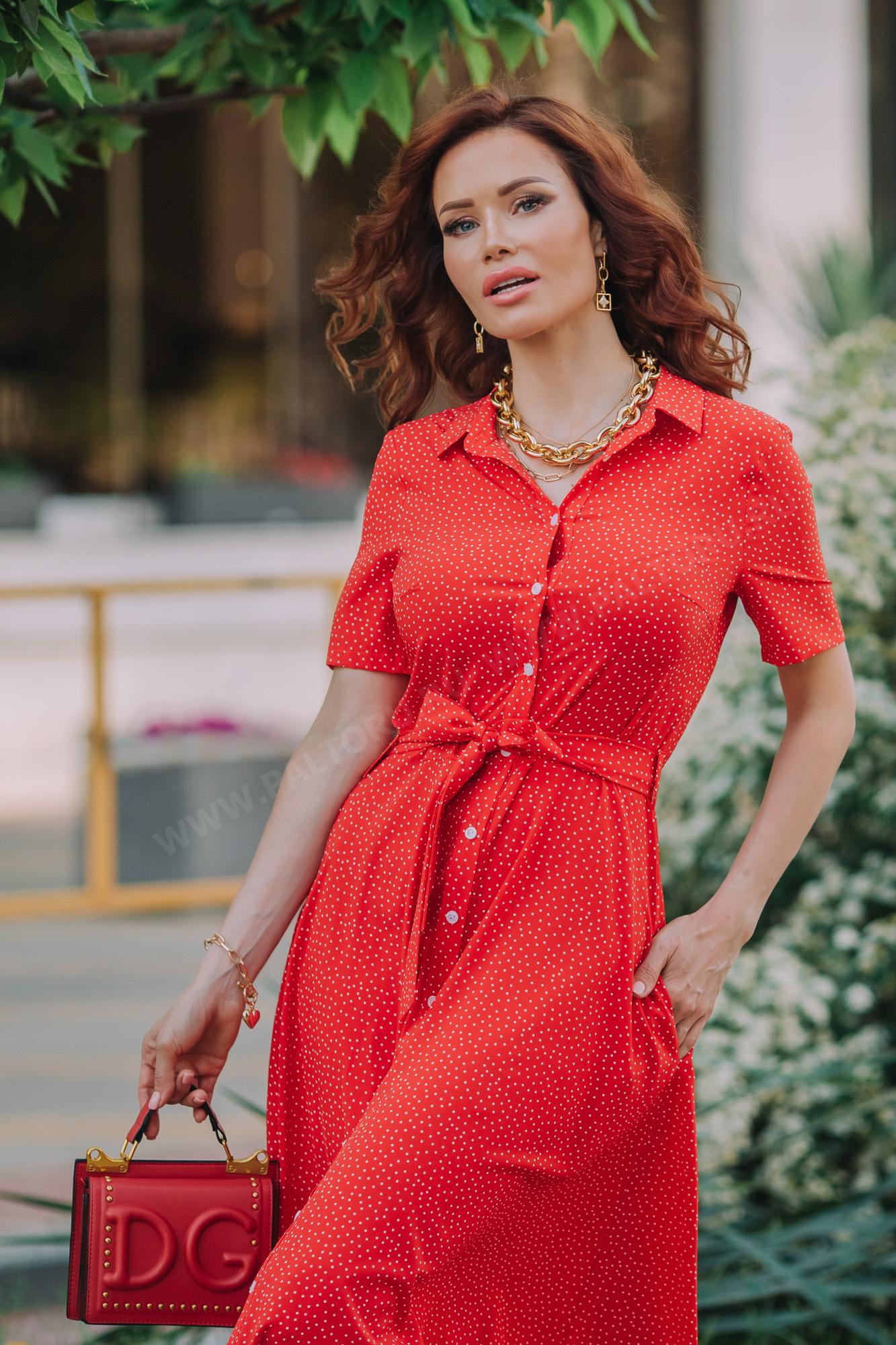 Платье рубашечное длинное