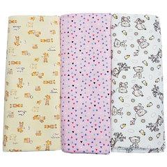 Папитто. Комплект трикотажных пеленок из футера для девочки 120х90 см, 3 шт.