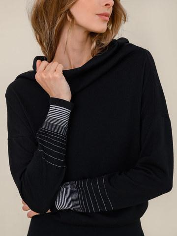 Женское платье черного цвета из шерсти и вискозы - фото 5