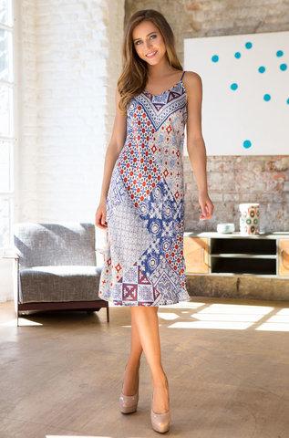 Платье синий орнамент