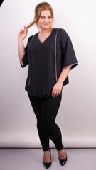 Марина. Весенняя блуза больших размеров. Черный.
