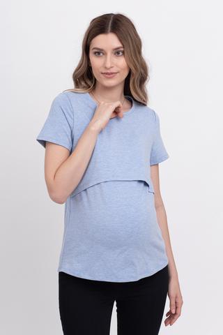Футболка для беременных и кормящих 10590 голубой без принта