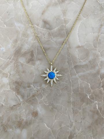 Колье Сириус из позолоченного серебра с голубой эмалью