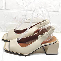Модные босоножки женские на каблуке Brocoli H150-9137-2234 Cream