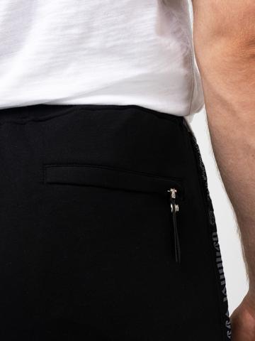 Спортивные штаны «Великоросс» черного цвета без манжета. Лёгкий футер