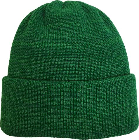 Зимняя шапка бини с отворотом зеленый мелаж