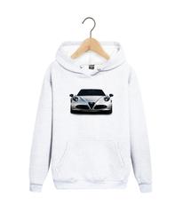 Толстовка белая с капюшоном (худи, кенгуру) и принтом Альфа Ромео (Alfa Romeo) 002