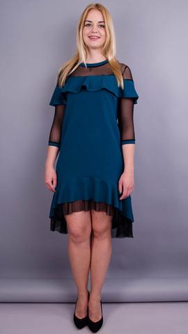 Ліка. Стильна сукня для жінок плюс сайз. Смарагд.