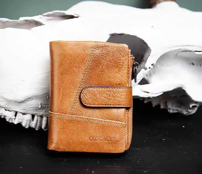 WL257-2 Вместительный мужской кошелек из натуральной кожи на застежке