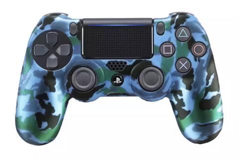 Чехол для геймпада DualShock 4 (сине-зелёно-черный перламутровый камуфляж)