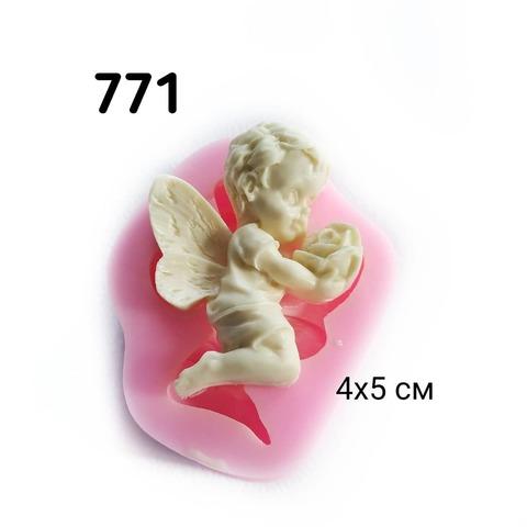 0771 Молд силиконовый Ангел на коленях с розой.