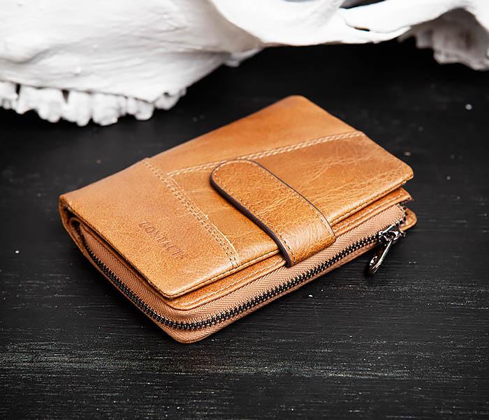WL257-2 Вместительный мужской кошелек из натуральной кожи на застежке фото 02