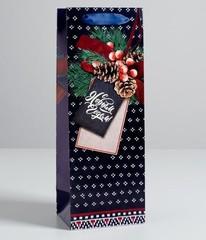 Пакет под бутылку крафтовый «С наилучшими пожеланиями», 13 × 36 × 10 см