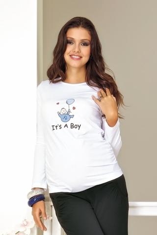 Лонгслив для беременных 01491 синий