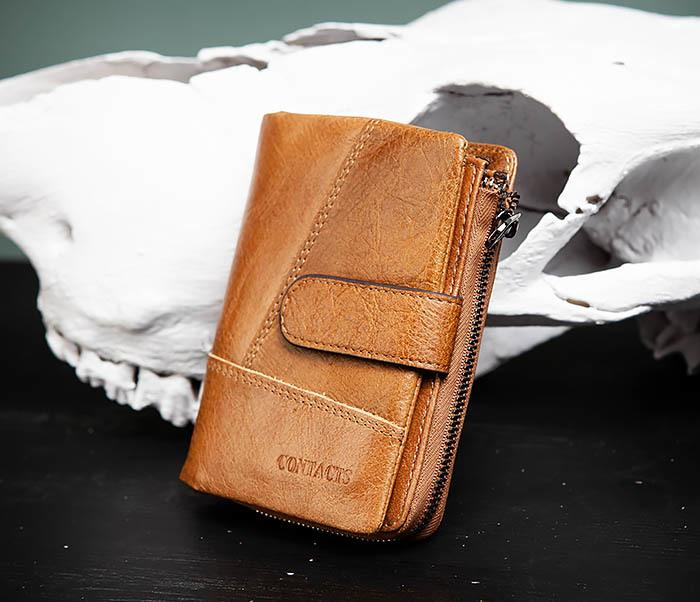 WL257-2 Вместительный мужской кошелек из натуральной кожи на застежке фото 03