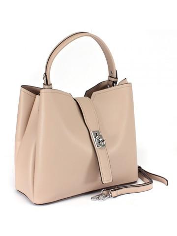 Бежевая сумка трапециевидной формы с оригинальной застежкой