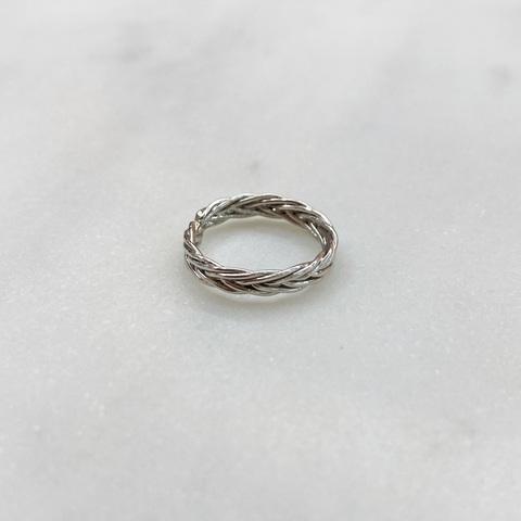 Кольцо на фалангу Косичка (серебристый)