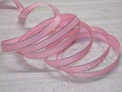 Лента репсовая Розовая с люрексовой каймой ширина 9 мм