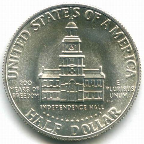 """1/2  доллара 1976 (S). США  """"200-летие Декларации независимости"""" UNC"""