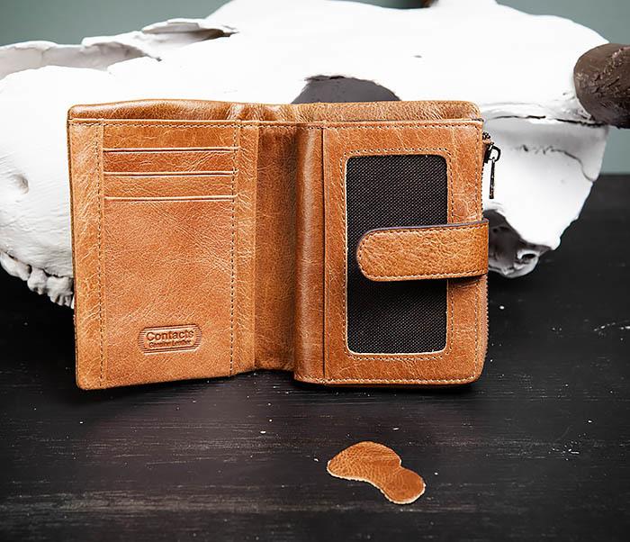WL257-2 Вместительный мужской кошелек из натуральной кожи на застежке фото 04