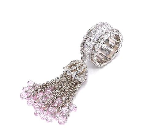 4907-Кольцо-кисточка из серебра с розовыми, каплевидными цирконами